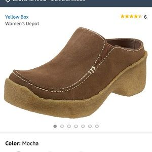 Yellow box suede clog